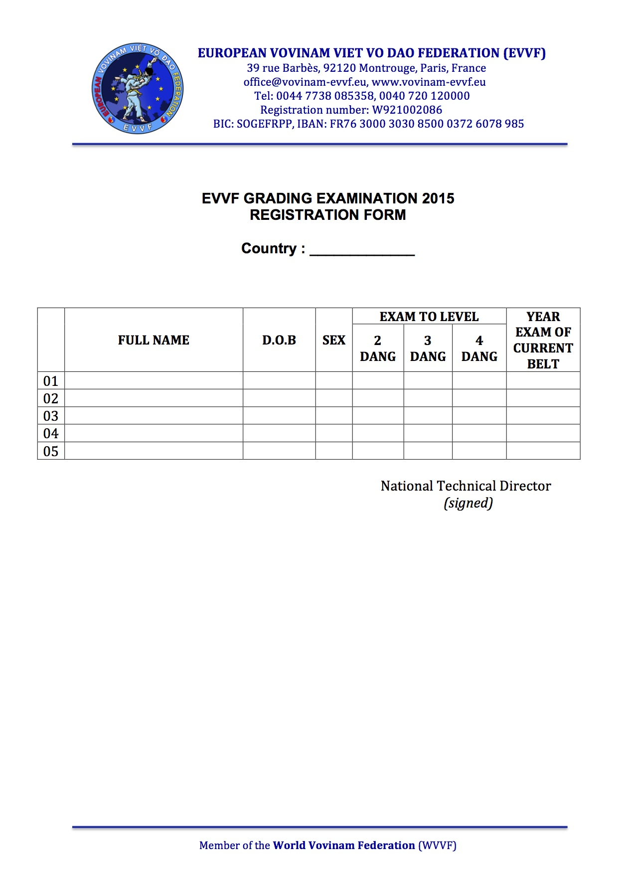 EVVF Grading Exam 2015 - Registration