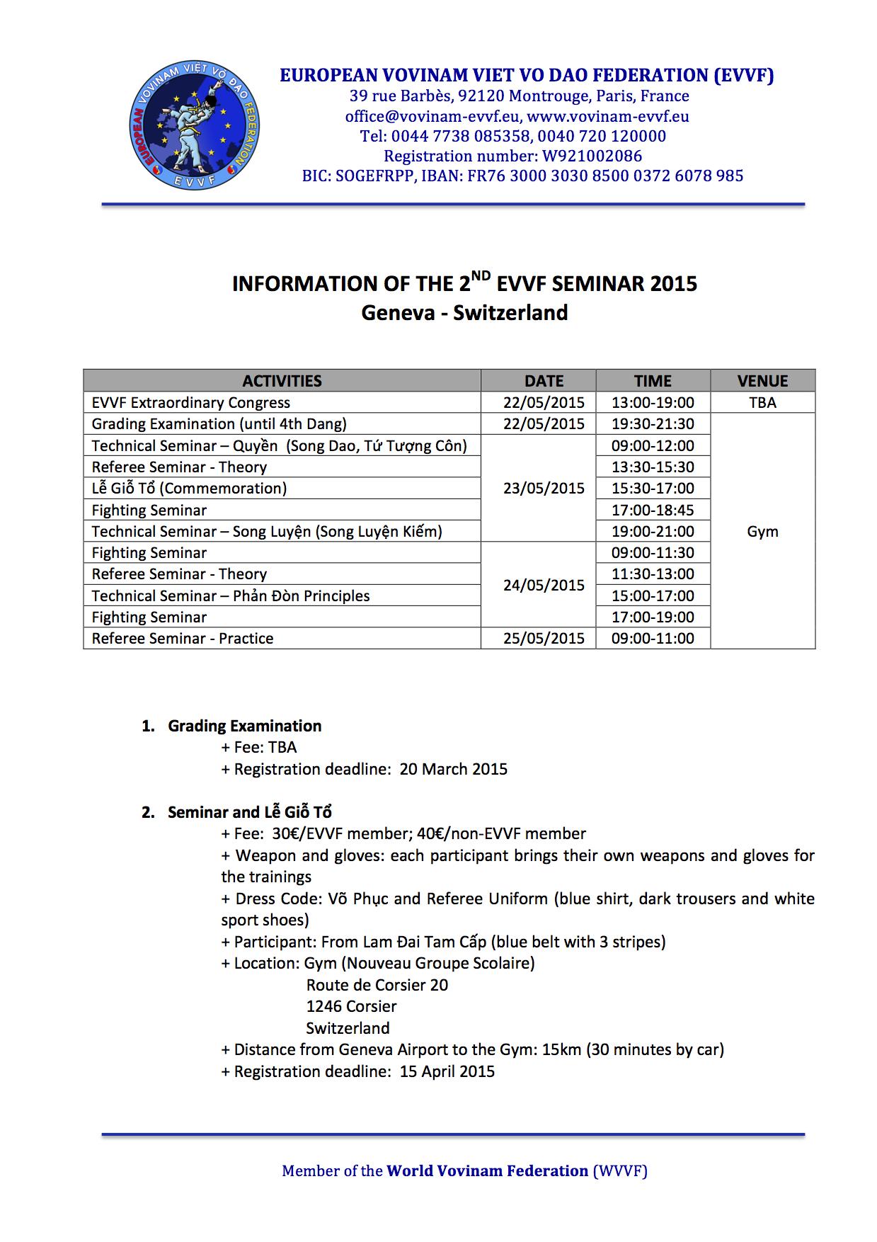 The 2nd EVVF Seminar 2015 - Information